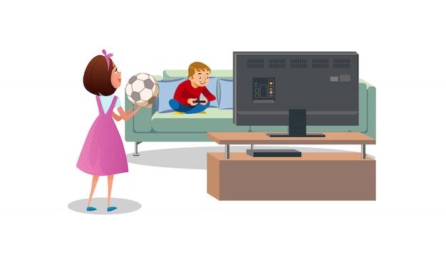 Mère demandant à son fils de jouer au ballon cartoon vector