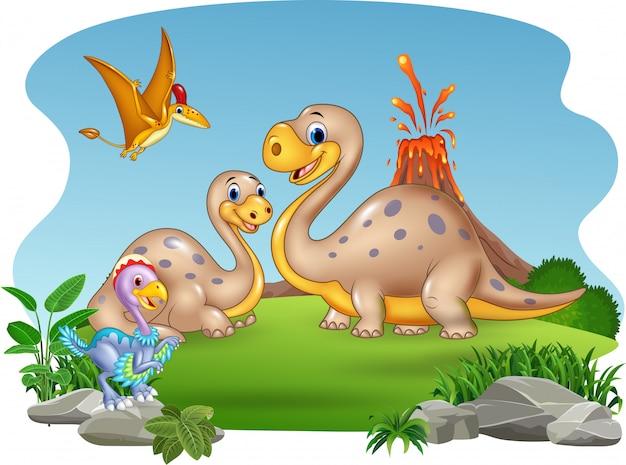 Mère de dessin animé et bébé dinosaures avec fond de nature