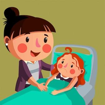 La mère donne de la motivation à sa fille pour que sa fille puisse récupérer rapidement