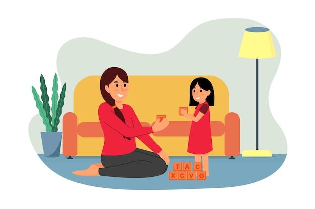 Mère et enfant jouant illustration