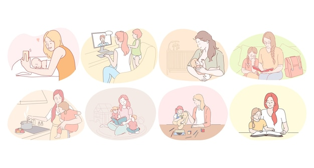 Mère et enfant, maternité, activités à domicile avec concept d'enfants. les jeunes femmes mères se nourrissant