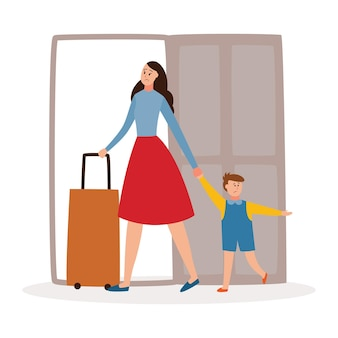 Mère et enfant quittant la maison divorce et séparation de famille