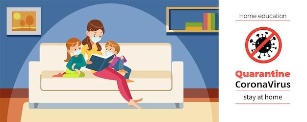 Mère et enfants lisent à la maison pendant la mise en quarantaine du coronavirus ou du covid-19. restez à la maison, concept d'éducation à domicile. illustration de dessin animé