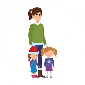 Mère et enfants avec des vêtements de noël