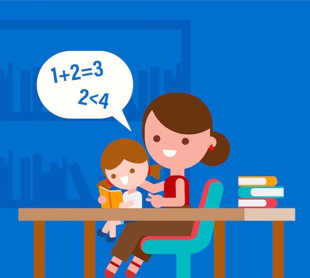Mère enseignant les mathématiques de base à sa petite fille.
