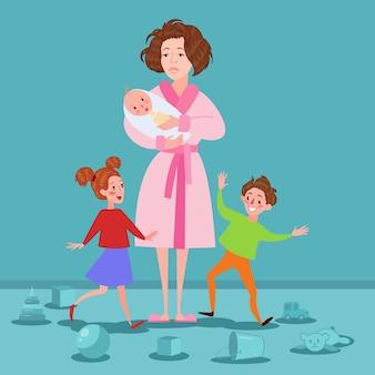 Mère épuisée avec nouveau-né et enfants