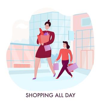Mère et fille avec achats