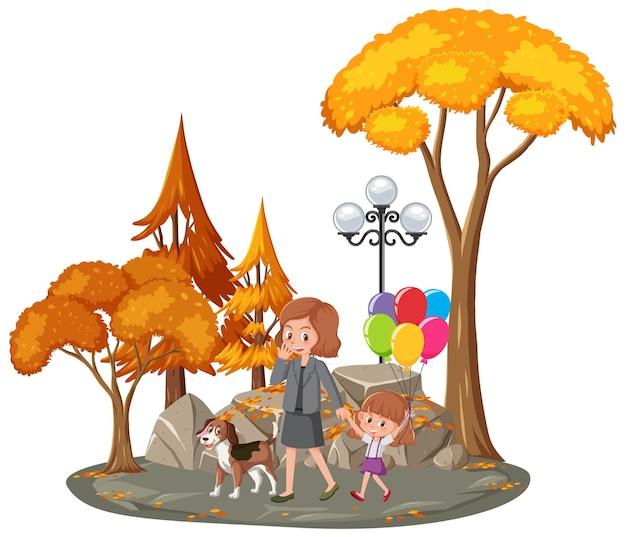 Mère et fille au parc