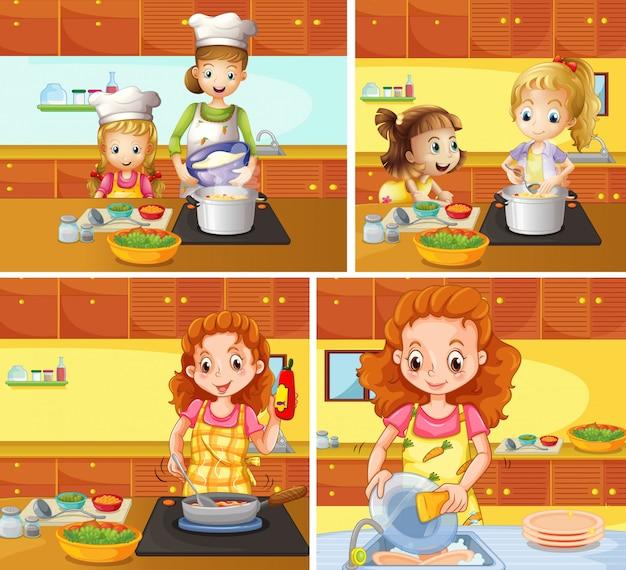 Mère, fille, cuisine, nettoyage