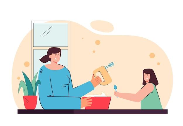 Mère et fille cuisinent ensemble. personnage féminin battant la crème avec mixeur. petite fille tenant une cuillère