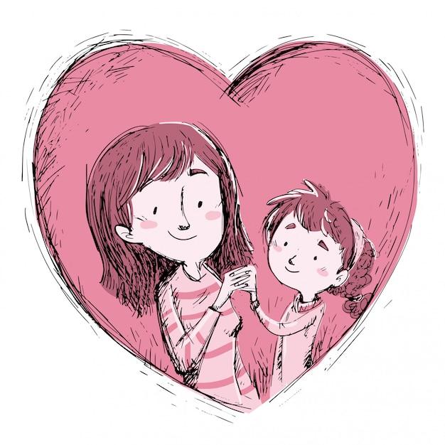 Mère et fille dans un coeur