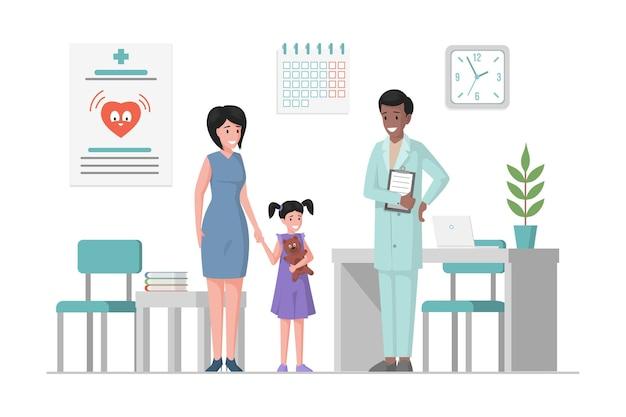 Mère et fille à un dessin animé plat rendez-vous chez le médecin