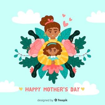 Mère et fille avec feuilles fond de fête des mères