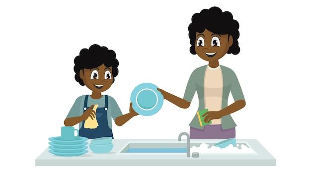 Mère et fille lavant la vaisselle
