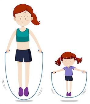 Mère et fille sautent à la corde