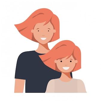 Mère et fille souriant personnage avatar