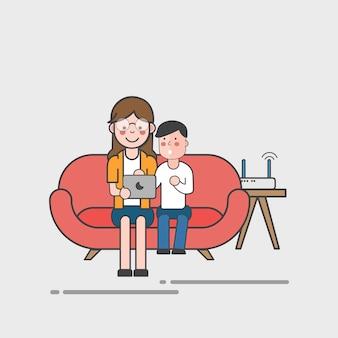 Mère et fille utilisant un ordinateur portable