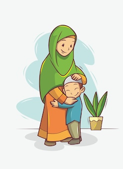 Mère et fils étreignant l'illustration