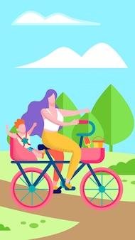 Mère et fils sur l'illustration verticale plate de vélo