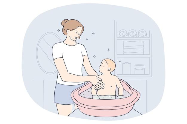 Mère et fils, maternité, concept de fête des mères. personnage de dessin animé mère jeune femme positive
