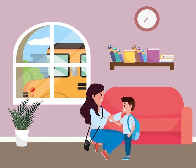 Mère et fils vont à l'école