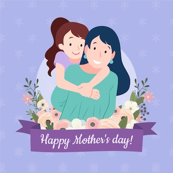 Mère florale; illustration de la journée avec maman et fille