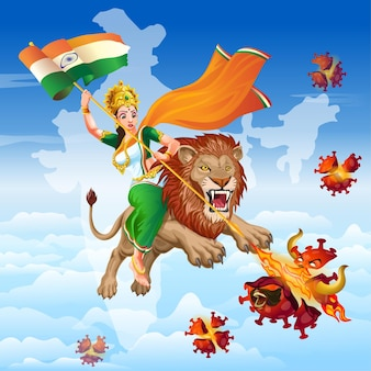 Mère inde sur lion avec un sari tricolore détruit le virus avec son pouvoir