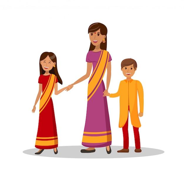 Mère indienne avec des enfants illustration plate