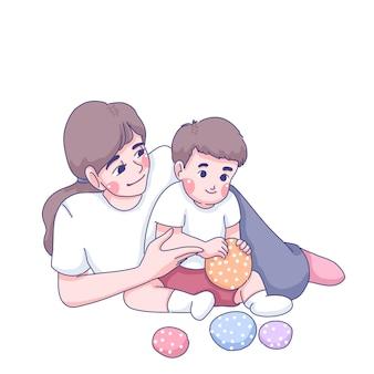 Mère jouant avec illustration de dessin animé de fils