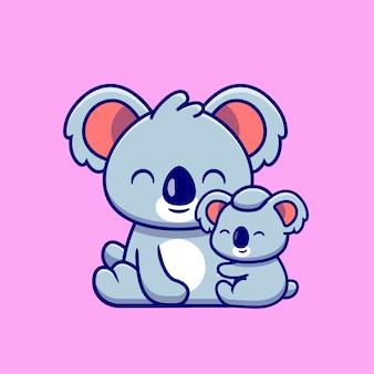 Mère koala mignonne avec bébé koala cartoon. concept d'icône de nature animale isolé. style de bande dessinée plat