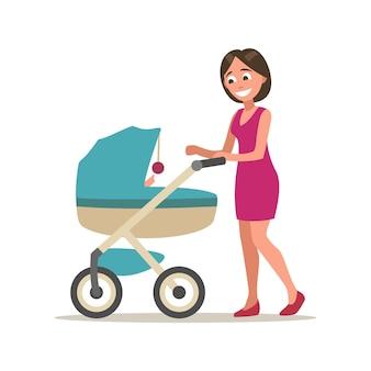 Mère marchant et jouant avec un enfant dans une poussette. illustration vectorielle plane couleur isolée sur fond blanc.