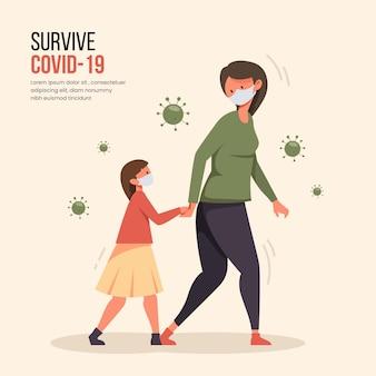 Mère, marche, enfants, concept