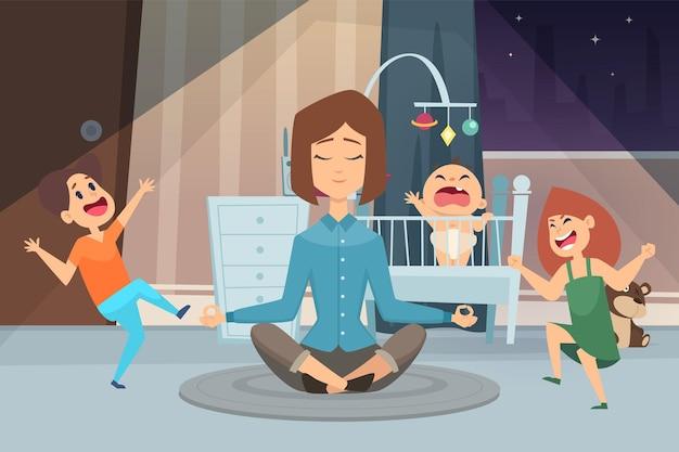 Mère de méditation. femme calme et enfants fous. jeune maman dans la chambre avec des enfants à l'illustration vectorielle de nuit. méditation mère, parent et enfant dans la chambre