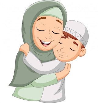 Mère musulmane embrassant son fils