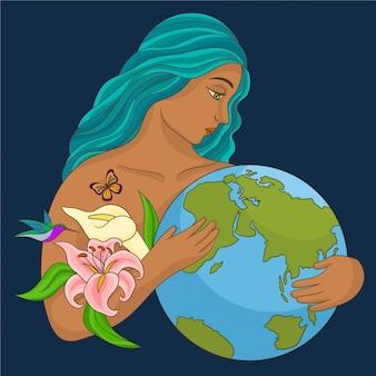 Mère nature embrassant la planète