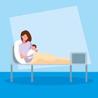 Mère avec nouveau-né en civière