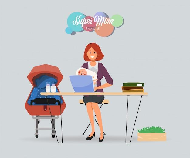 Mère occupée avec bébé et personnage travailleur.