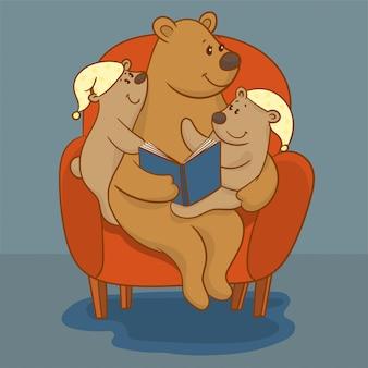 Mère ours en lisant un livre