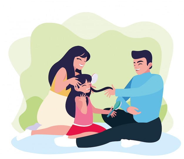 Mère et père avec fille jouant