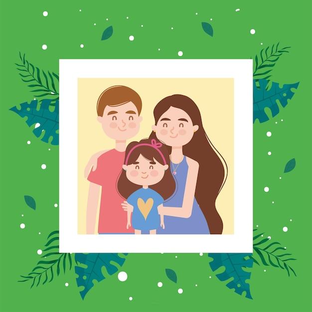 Mère avec père et fille photo avec des feuilles