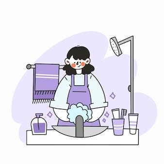 Une mère se laver les mains dans la douche doodle illustration