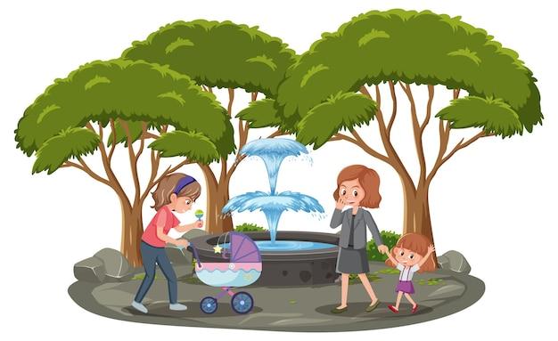 Mère avec ses enfants dans le parc