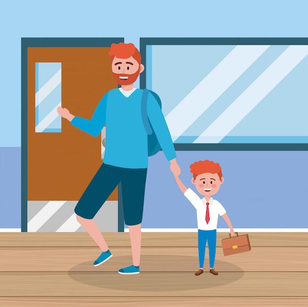Mère avec son élève garçon et valise et salle de classe