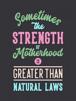 Mère sont fortes lettrage citations de typographie