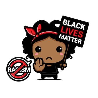 Une mère avec un symbole d'arrêt du racisme