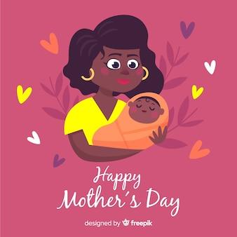 Mère tenant bébé fond de fête des mères