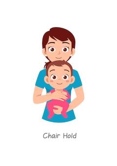 Mère tenant un bébé avec une pose nommée prise de chaise