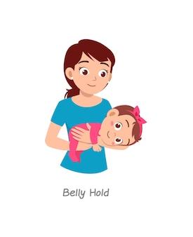 Mère tenant un bébé avec une pose nommée prise du ventre