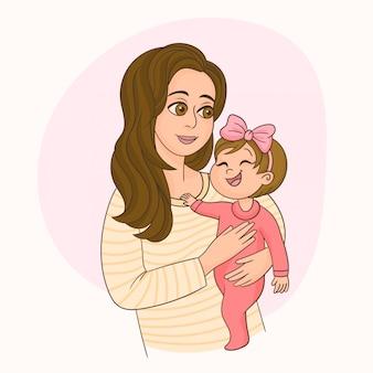 Mère tenant sa jolie petite fille