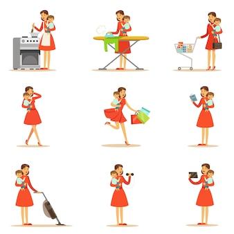 Mère, tenue, bébé, bras, faire, différent, activités, série, illustrations